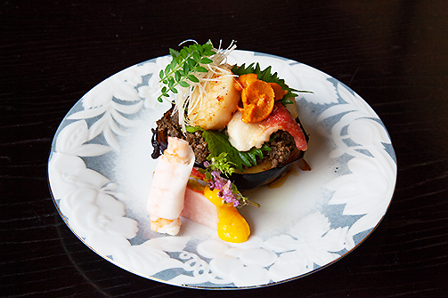 丸茄子田楽 海鮮焼き