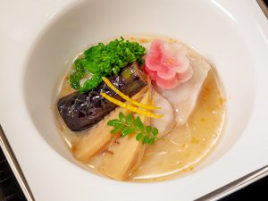 白身魚桜道明寺蒸し