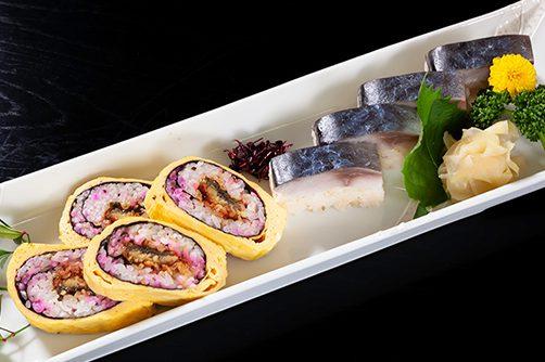 う巻き寿司玉子巻き 黒酢飯銀鯖棒寿司